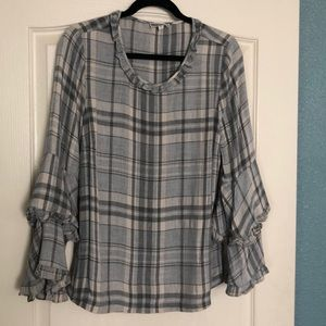 Plaid Blouse with Bell Sleeves